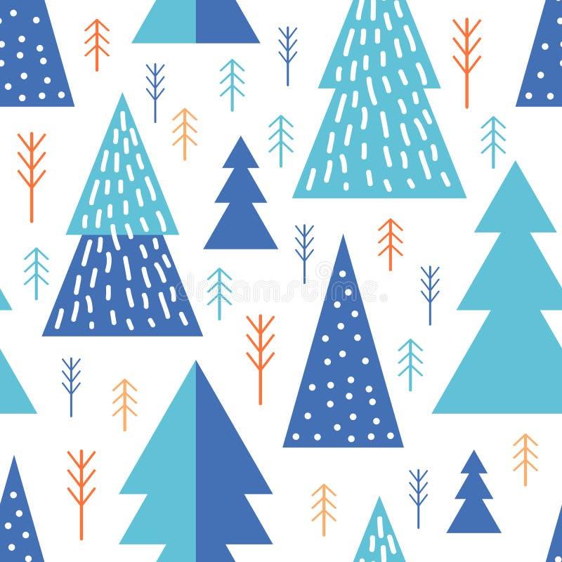 Bosque geométrico de patrón abstracto Árboles minimalistas simples. Estilo escandinavo Enorme. Invierno de caricaturas. Ilustra stock de ilustración