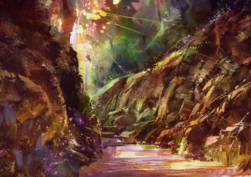 Bosque hermoso del otoño con luz del sol stock de ilustración