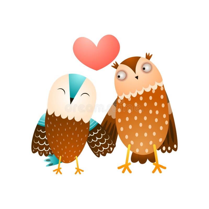 Bosque lindo en pares del amor de la familia salvaje del búho stock de ilustración