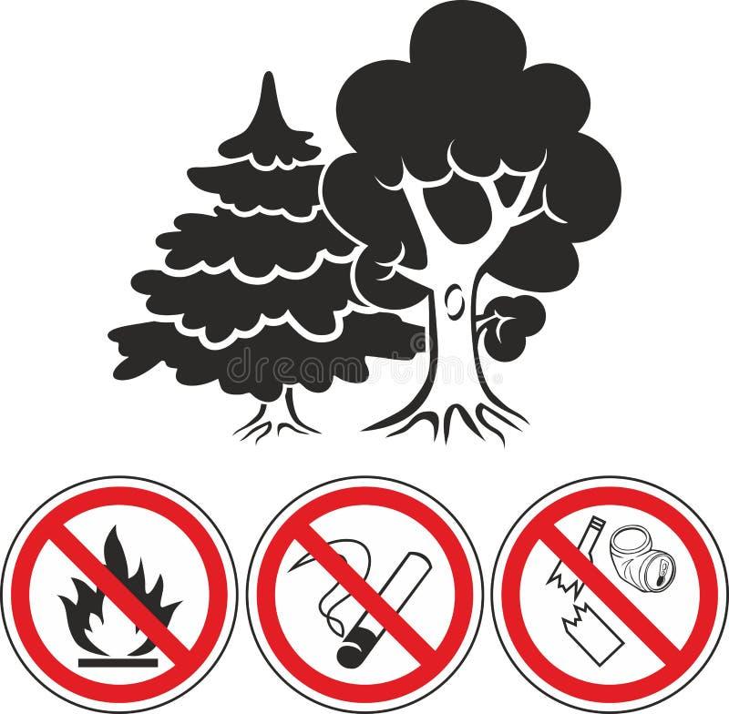 Bosque mezclado y prohibir iconos de las muestras ilustración del vector