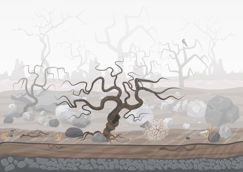 Bosque misterioso en niebla Escena fantasmagórica oscura del paisaje de Halloween stock de ilustración