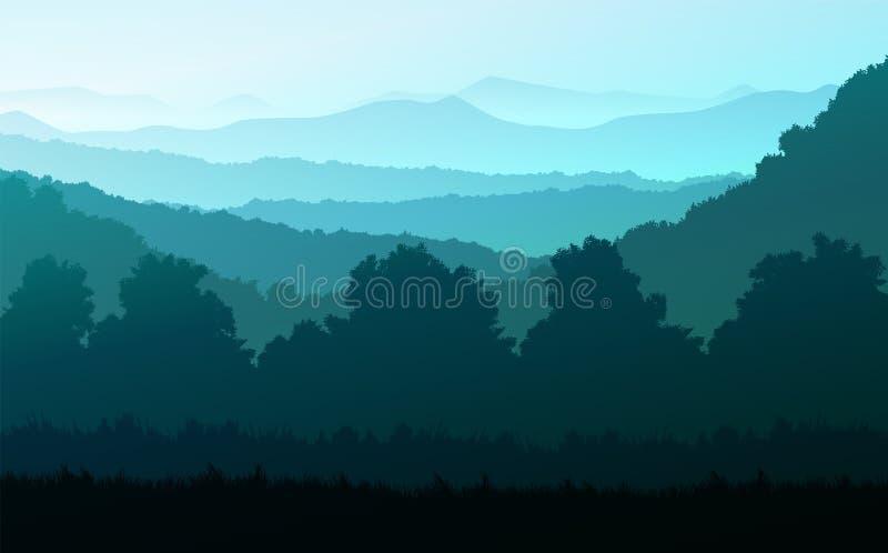 Bosque natural Árboles horizontales de selva Paisajes fondos de pantalla Sunrise and sunset Illustration estilo vectorial Colorid stock de ilustración