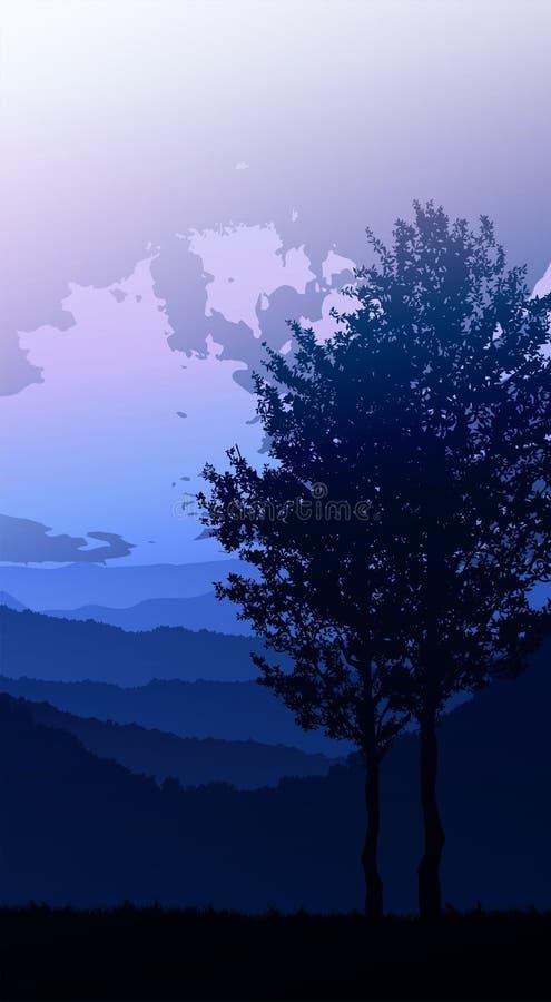 Bosque natural Árboles horizontales de selva Paisajes fondos de pantalla Sunrise and sunset Illustration estilo vectorial Colorid ilustración del vector