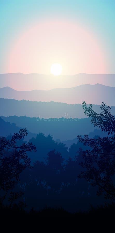 Bosque natural Selva árboles horizontes verdes Paisajes fondos de pantalla Sunrise and sunset Illustración estilo vectorial Color libre illustration