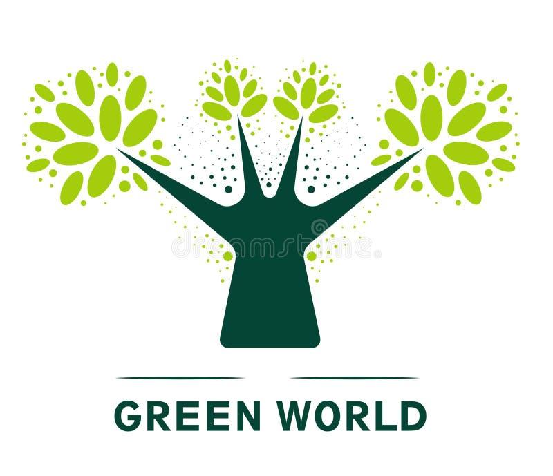 Bosque o ecología aislada arbolado del árbol del icono y tronco y hojas limpios del vector del ambiente stock de ilustración