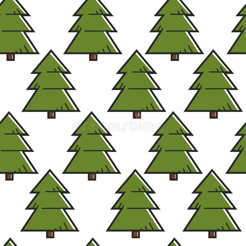 Bosque o bosque inconsútil del modelo del árbol de la picea o de abeto libre illustration