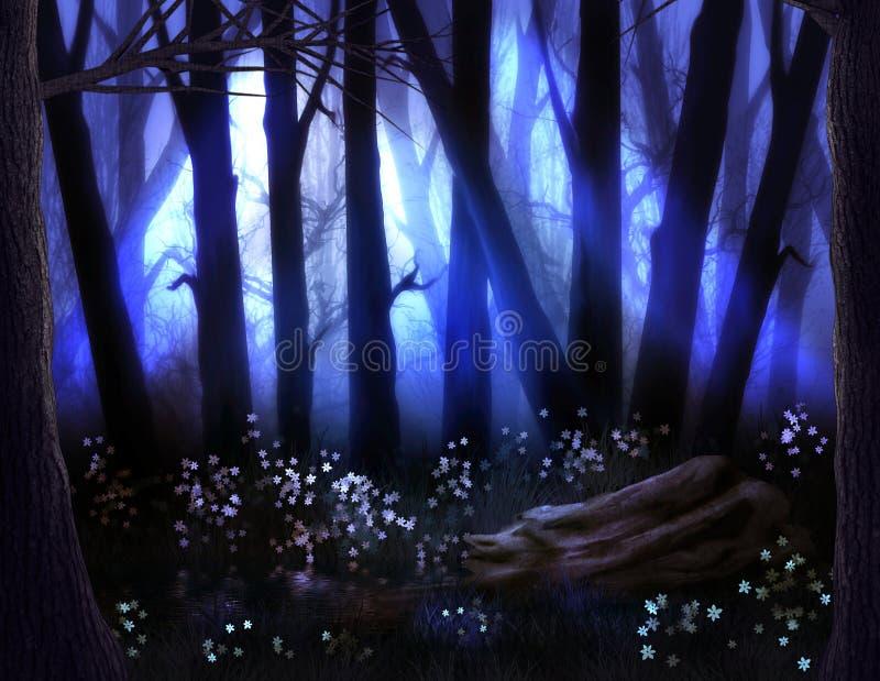 Bosque oscuro con niebla y árboles asustadizos en Halloween stock de ilustración