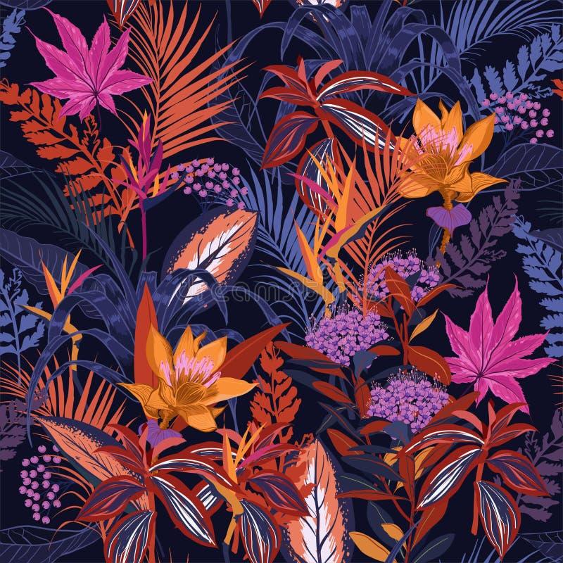 Bosque salvaje colorido de la noche de verano del alto contraste por completo del bloomin libre illustration