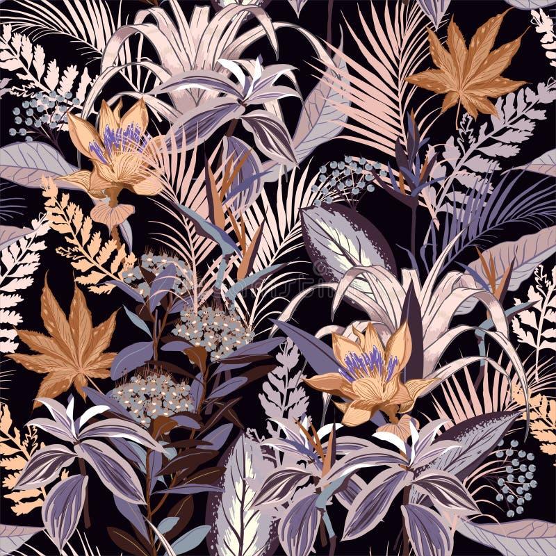 Bosque salvaje de la noche de verano por completo de la flor floreciente en muchos o bueno ilustración del vector