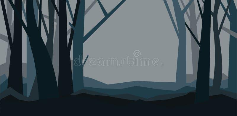 Bosque sin las hojas en la oscuridad Paisaje brumoso Ejemplo horizontal del vector de un bosque de la noche en niebla ilustración del vector