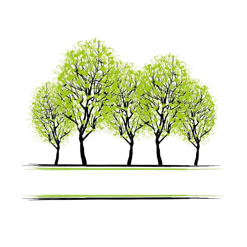 Bosque verde com as árvores para seu projeto ilustração do vetor