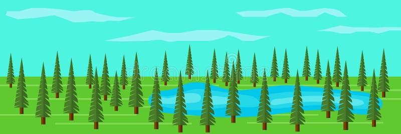 Bosque verde del árbol de abeto con un lago entre los árboles libre illustration