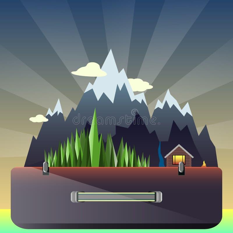 Bosque y casa de cazadores de la montaña en la maleta libre illustration
