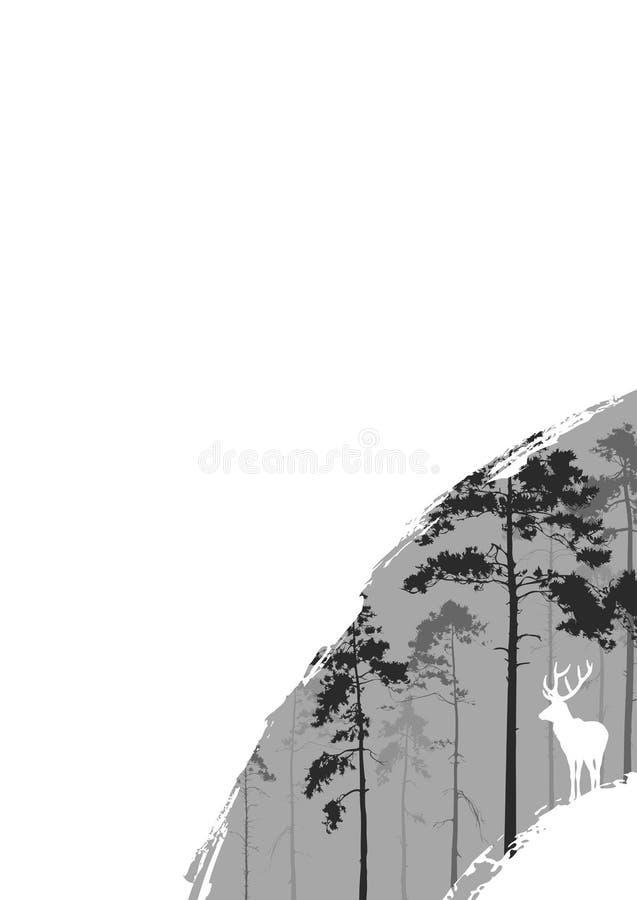 Bosque y ciervos ilustración del vector