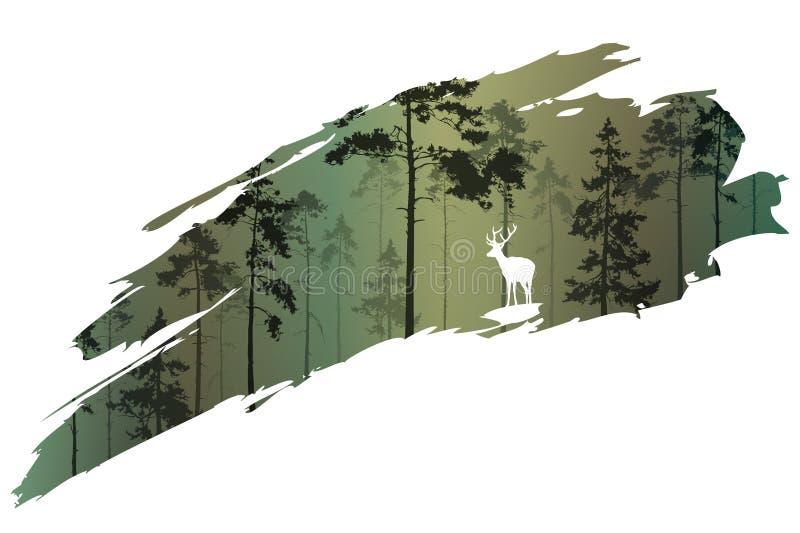 Bosque y ciervos libre illustration