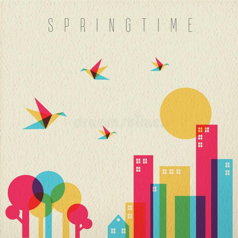 Bosque y ciudad del árbol de la estación del tiempo de primavera stock de ilustración