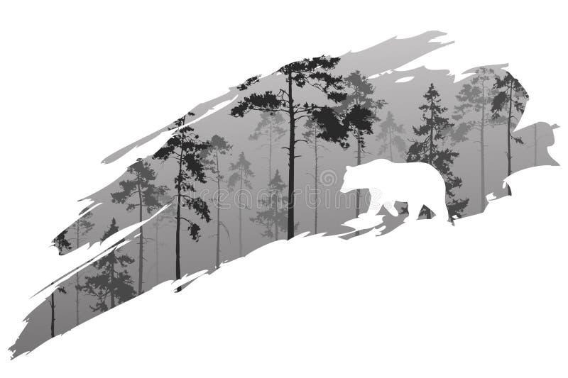 Bosque y oso libre illustration