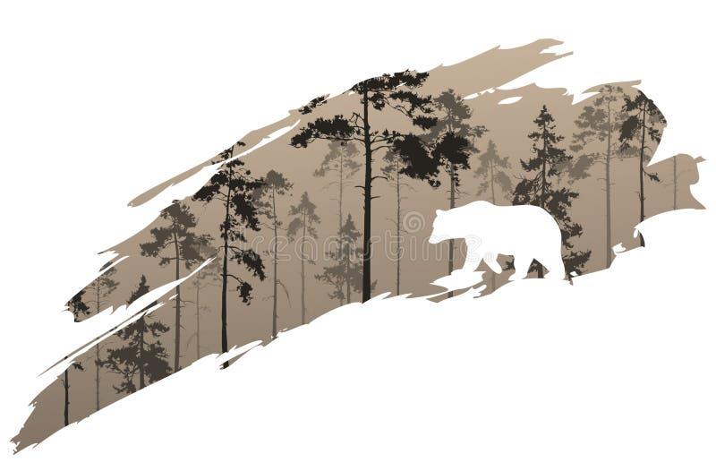 Bosque y oso ilustración del vector