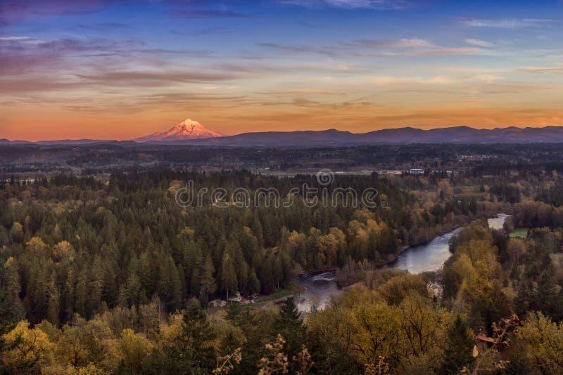 Bosque y río del otoño desde arriba fotos de archivo
