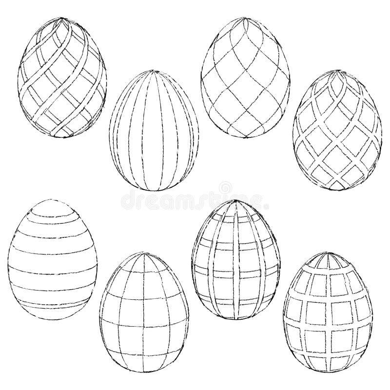 Bosqueja Los Huevos De Pascua Hechos A Mano Para Colorear ...