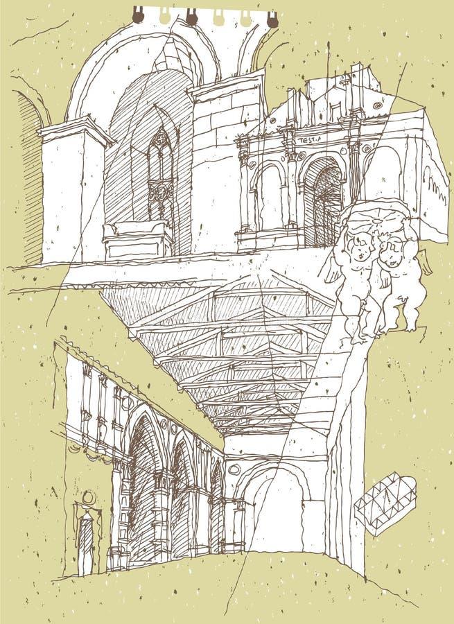 Bosquejar arquitectura histórica en Italia stock de ilustración