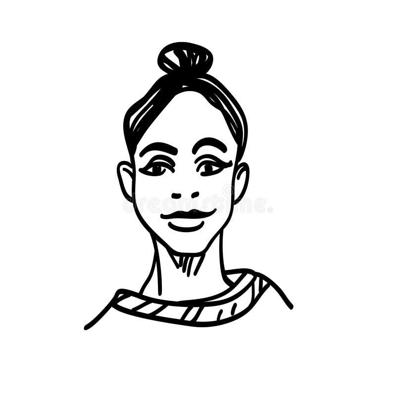 Bosquejar a la mujer de la belleza Ejemplo dibujado mano de la moda Retrato de la muchacha bonita en el fondo blanco ilustración del vector