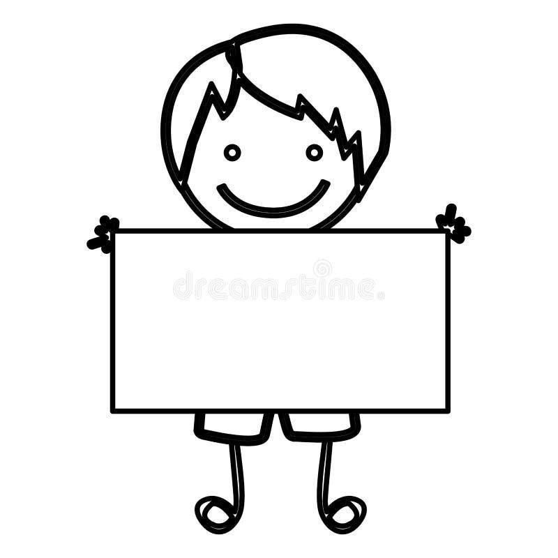 bosqueje al muchacho de la vista delantera de la silueta con el pelo recto y la bandera stock de ilustración