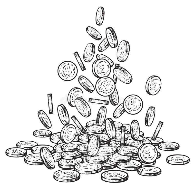 Bosqueje de las monedas que caen en diversas posiciones, pila grande de efectivo, mucho dinero Vector dibujado mano blanco y negr libre illustration