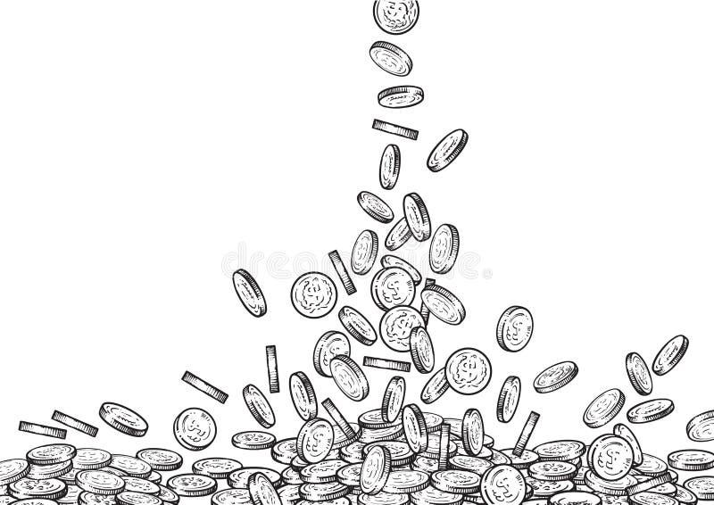 Bosqueje de las monedas que caen, top el fluir del dinero abajo, pila grande de efectivo, mucho dinero, concepto del tesoro Rebec stock de ilustración