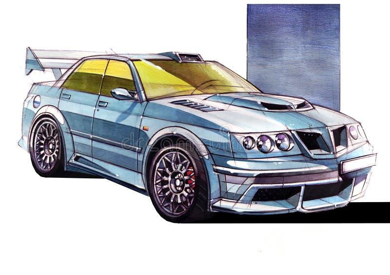 Bosqueje el coche urbano de la juventud en un estilo deportivo con un motor de alta velocidad potente fotografía de archivo libre de regalías