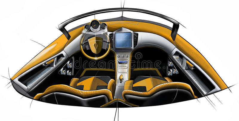 Bosqueje el diseño del interior conceptual moderno de un coche del cupé de los deportes Ilustración imagen de archivo