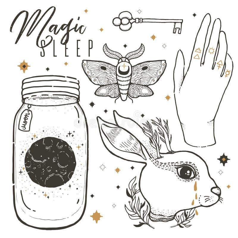 Bosqueje el ejemplo gráfico con y oculta los símbolos dibujados la mano mística Fije el conejo, mano, polilla, tarro de albañil I ilustración del vector