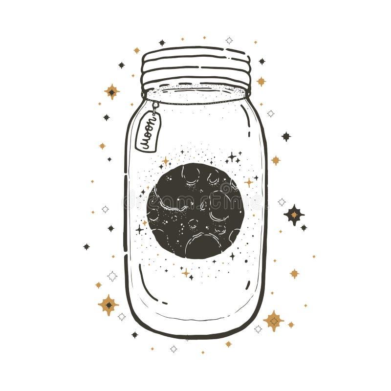 Bosqueje el ejemplo gráfico con y oculta los símbolos dibujados la mano mística Tarro de albañil con la luna Ilustración del vect libre illustration