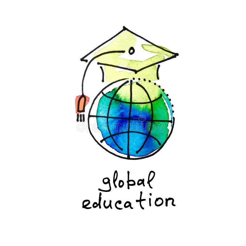 Bosqueje el icono de la acuarela de la educación global, distancia en línea lear libre illustration