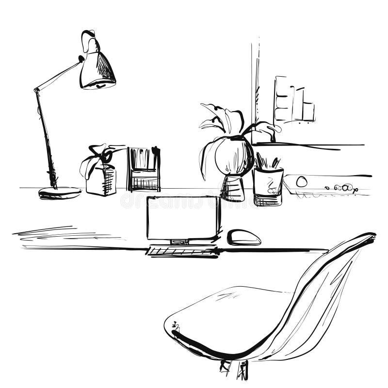 Bosqueje el lugar de trabajo delante del ordenador Ilustraci?n del vector La oficina o trabaja independientemente ilustración del vector