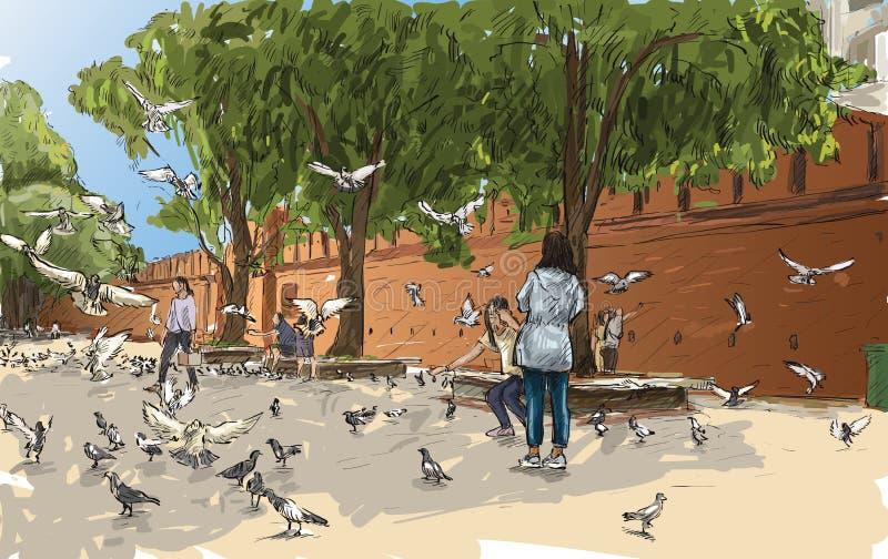 Bosqueje el paisaje urbano de Chiangmai, Tailandia, puerta Tha Phae de la demostración y ilustración del vector