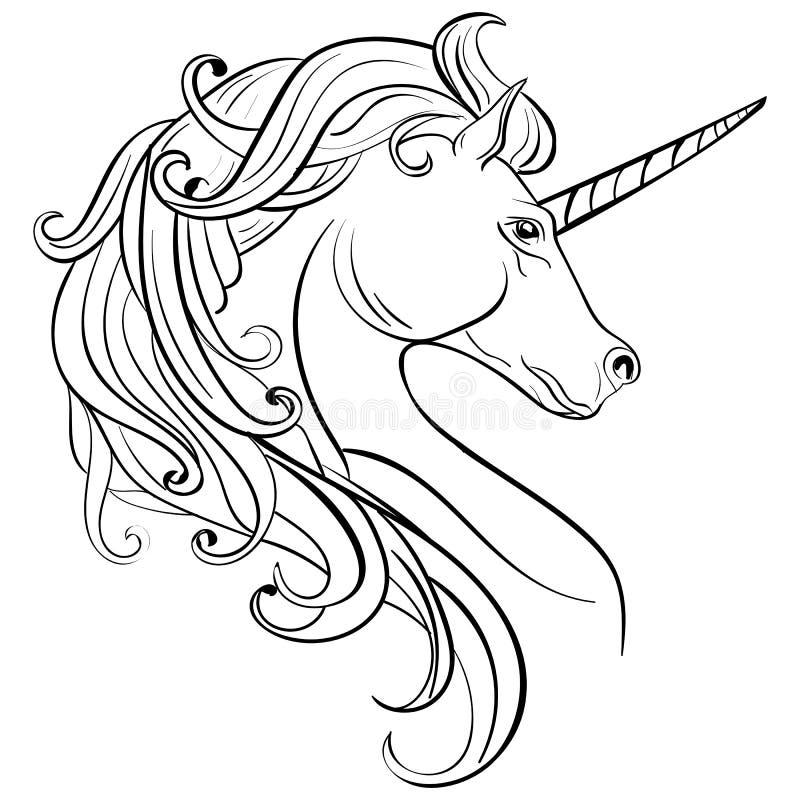 Bosqueje el unicornio, caballo dibujado mano del unicornio de la tinta stock de ilustración