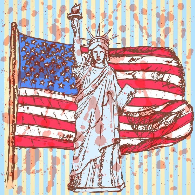 Bosqueje la bandera de los E.E.U.U. y la estatua de la libertad, fondo del vector ilustración del vector