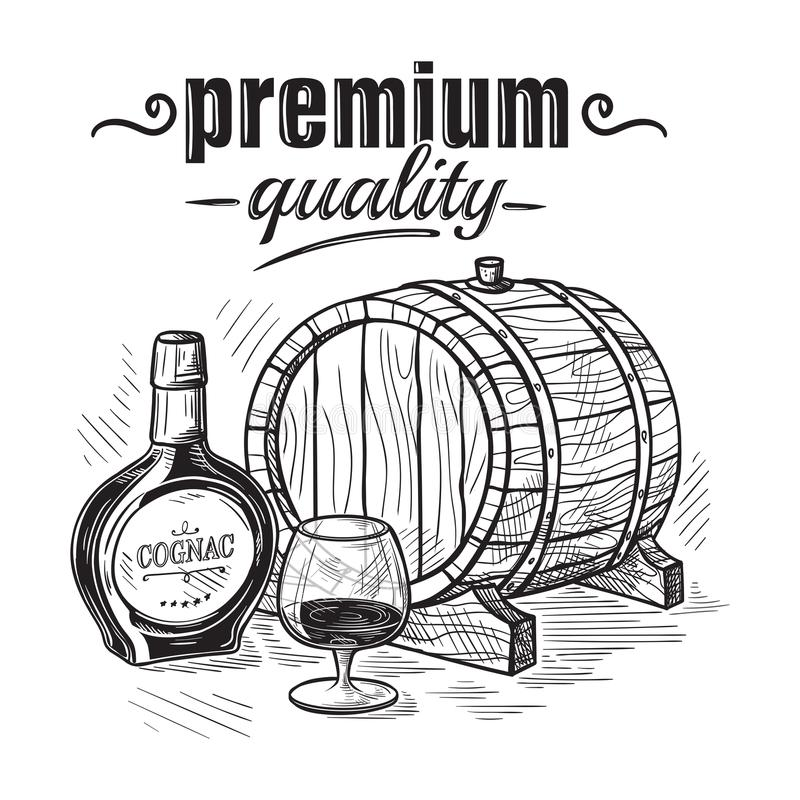 Bosqueje la botella de whisky y el barril de cristal y de madera ilustración del vector