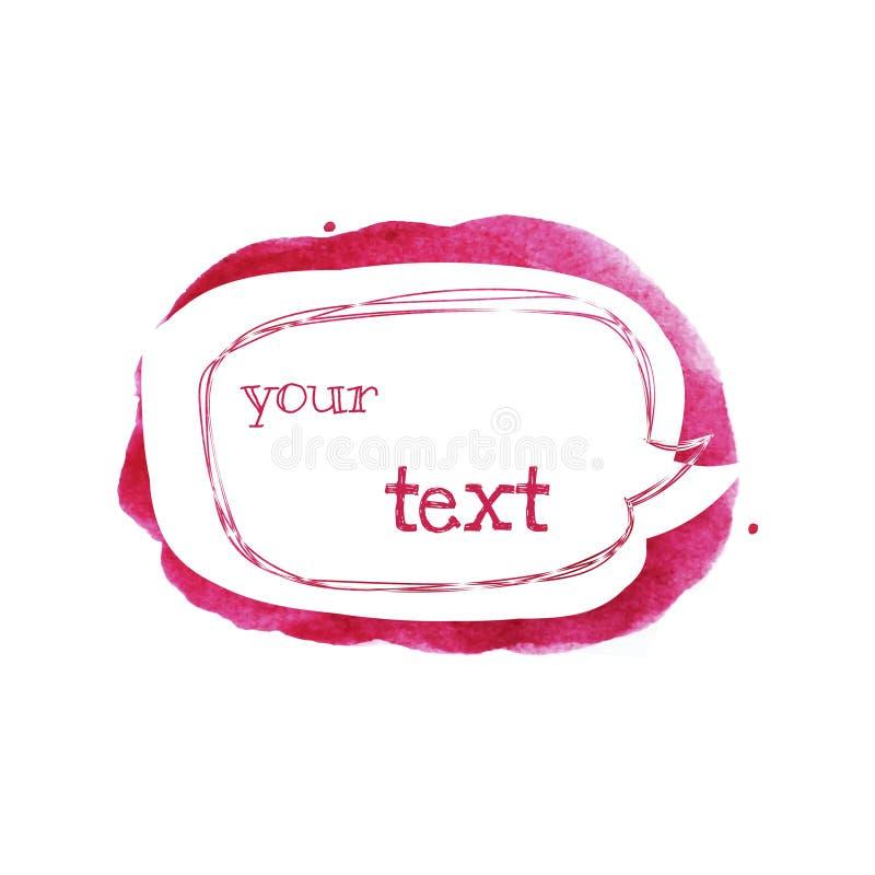 Bosqueje la burbuja del discurso del estilo en punto rosado brillante Fondo elegante abstracto de la acuarela Ilustración del vec ilustración del vector