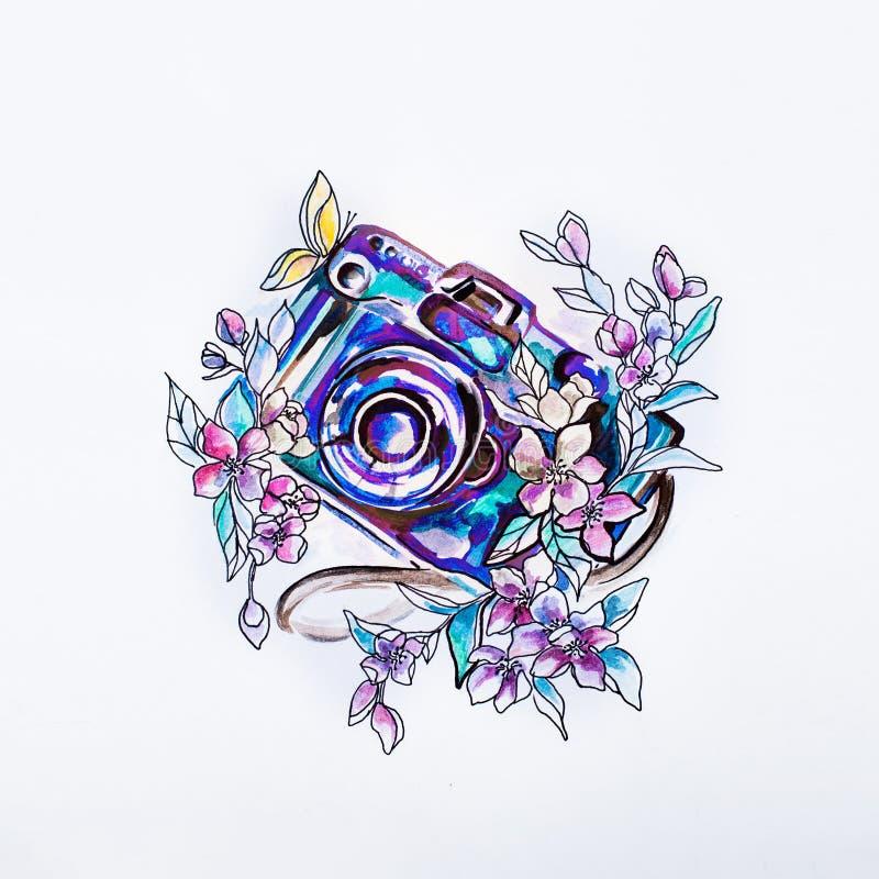 Bosqueje la cámara en flores púrpuras hermosas en acuarela imagen de archivo libre de regalías