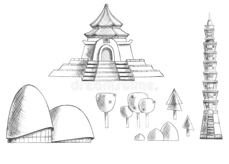 Bosqueje la colección de edificios, templos, árboles, plantas Taiwán asia ilustración del vector