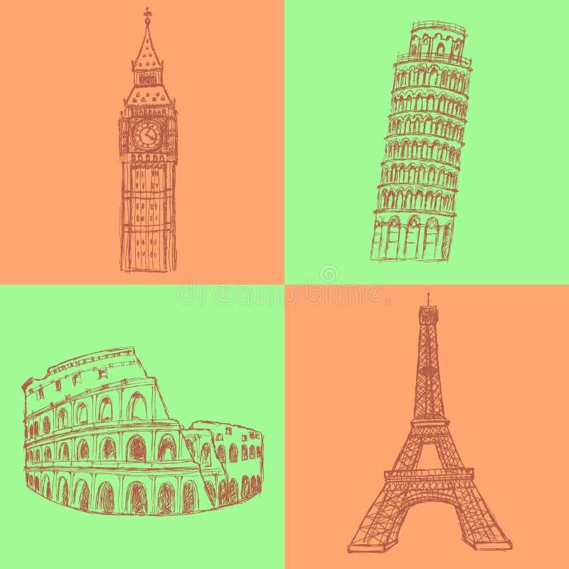 Bosqueje la torre de Eifel, la torre de Pisa, Big Ben y el coliseo, sistema del vector ilustración del vector