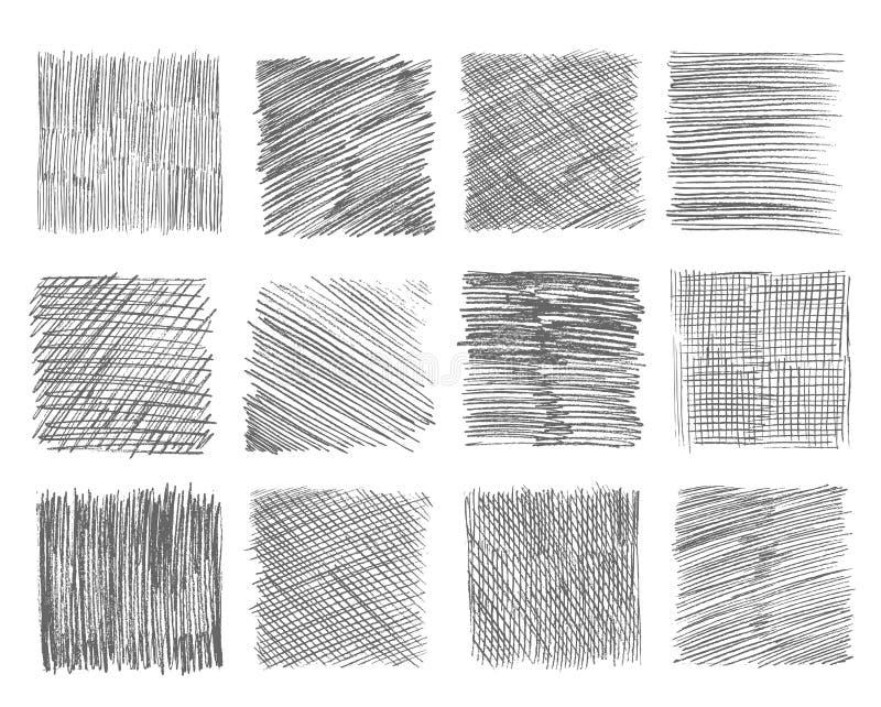 Bosqueje la trama La línea a pulso movimientos del garabato de la pluma marca la línea negra extracto hecho a mano del garabato c stock de ilustración