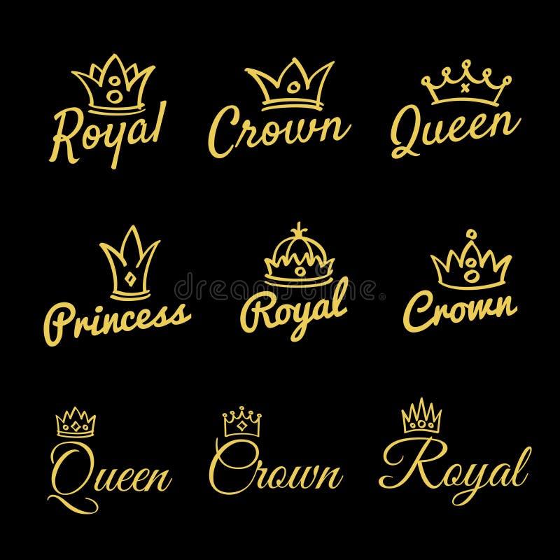 Bosqueje las coronas de la reina y el vector dibujado mano de la diadema de la princesa ilustración del vector