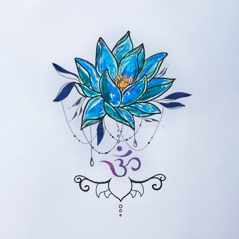 Bosqueje las muestras del loto y de OM en un fondo blanco stock de ilustración