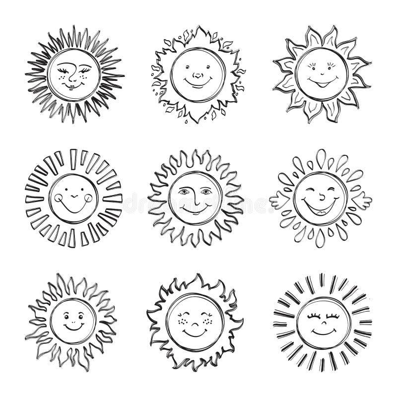 Bosqueje a los niños del sol que dibujan, dé los iconos exhaustos de la sol, soles del garabato libre illustration