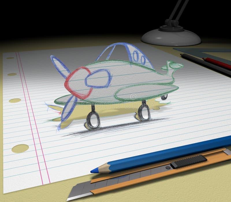 Bosqueje su ideal (el aeroplano) ilustración del vector