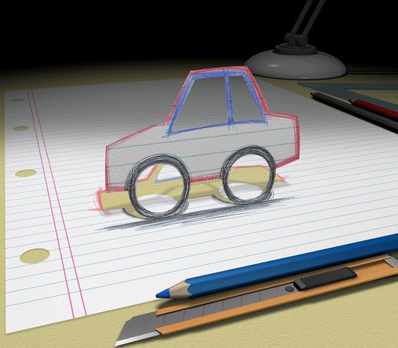 Bosqueje su ideal (el coche) ilustración del vector