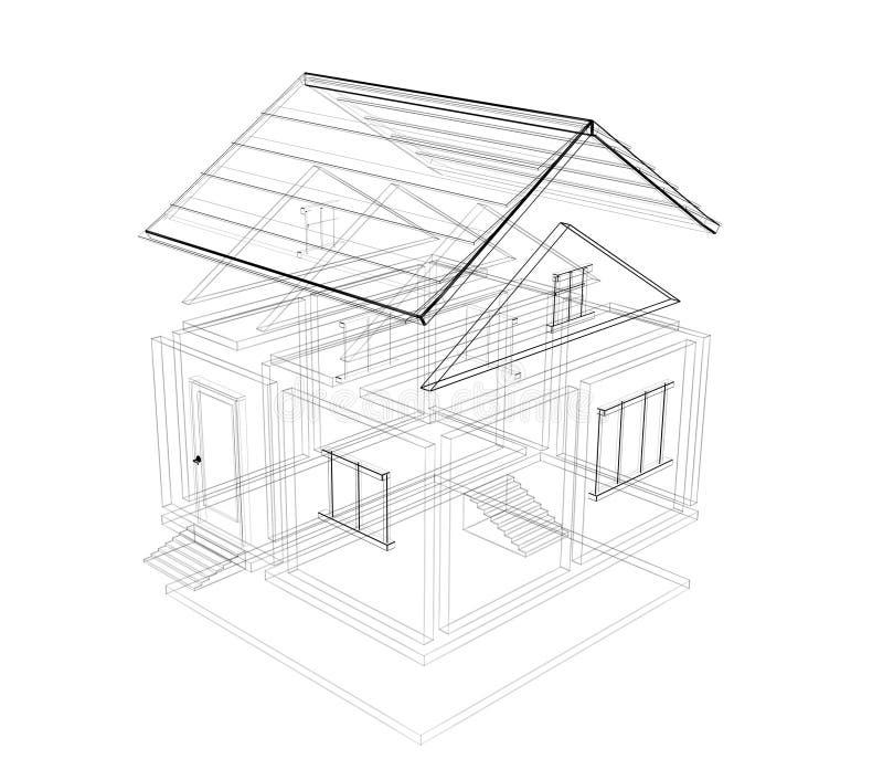 Bosquejo 3d De Una Casa Imagen de archivo